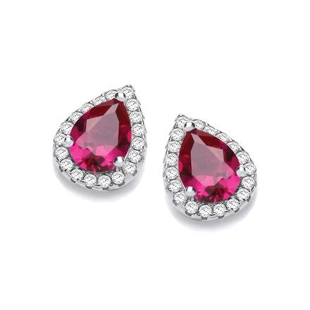 Selling: Teardrop Ruby Red Cz Stud Earrings