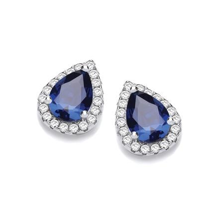 Selling: Teardrop Sapphire Blue Cz Stud Earrings