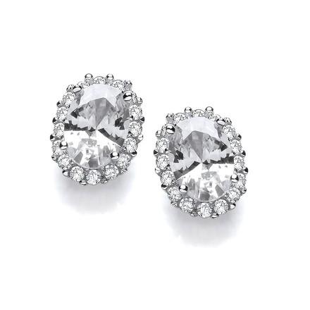 Selling: Oval Clear CZ Stud Silver Earrings