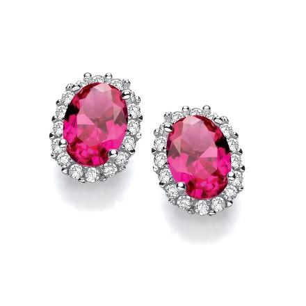 Selling: Oval Red CZ Stud Silver Earrings