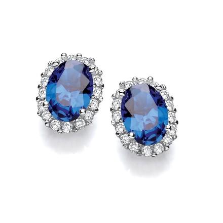 Selling: Oval Blue CZ Stud Silver Earrings