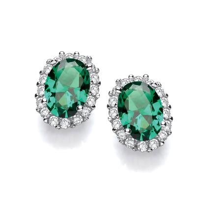 Selling: Oval Green CZ Stud Silver Earrings