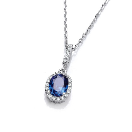 "Selling: Oval Blue CZ Drop Pendant with 18"" Chain"