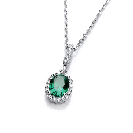 "Selling: Oval Green CZ Drop Pendant with 18"" Chain"