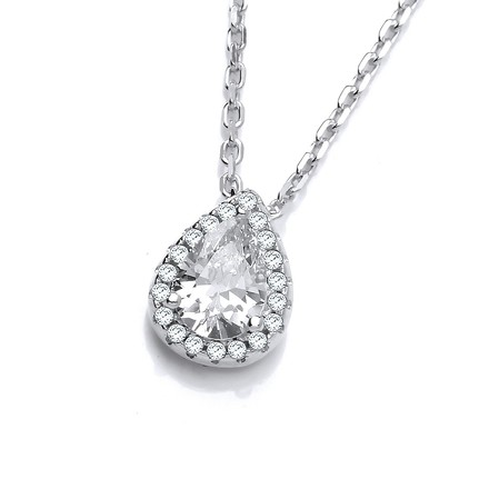 "Selling: Teardrop Clear Cz Pendant with 18"" Chain"