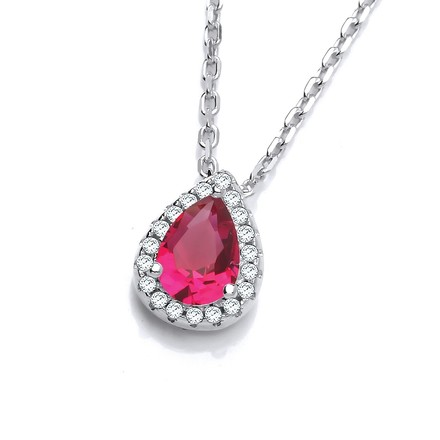 "Selling: Teardrop Red Cz Pendant with 18"" Chain"
