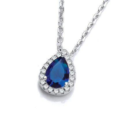 "Selling: Teardrop Blue Cz Pendant with 18"" Chain"