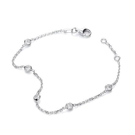 """Silver Rh.Plated Rubover 5 Cz's Bracelet 7"""""""