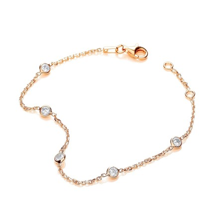 "Gold Coated Rubover 5 Cz's Bracelet 7"""