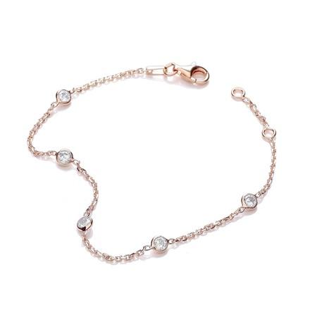 "Rose Coated Rubover 5 Cz's Bracelet 7"""