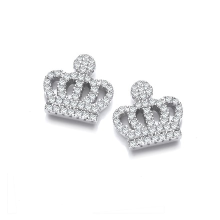 Selling: Micro Pave Cz Crown Stud Silver Earrings