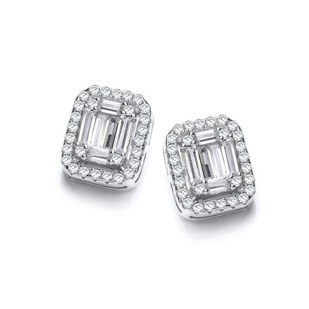Selling: Emerald Look Created by CZ Baguettes, Silver Stud Earrings