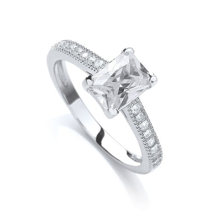 Selling: Fancy Emerald Cut Cz with Shoulders Ring