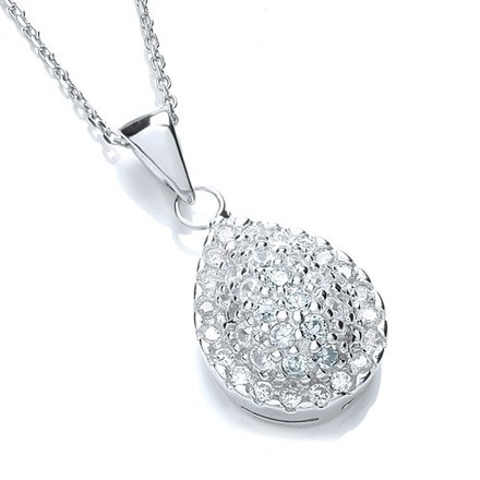"""Selling: Pear Shaped Cluster Cz Pendant with 18"""" Chain"""