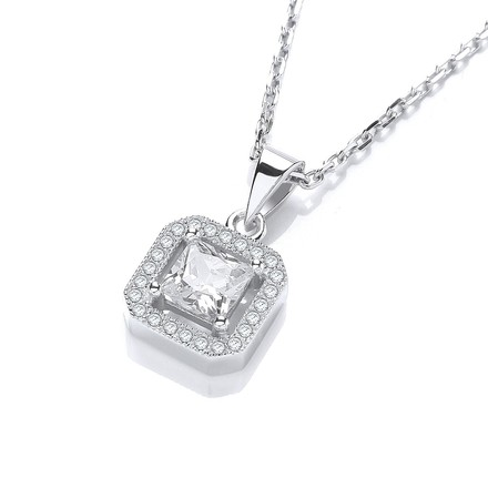 """Selling: Micro Pave'  Princess Cut Pendant with 18"""" Chain"""