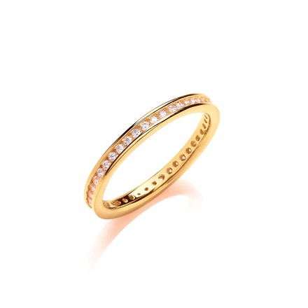 2mm Full ET Rd/Bril. Cz YG Plated Silver Ring