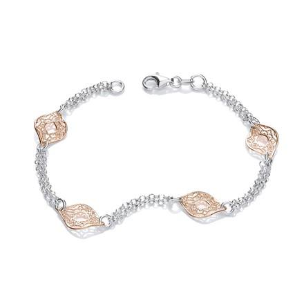 Rose & Silver Filigree Links Bracelet