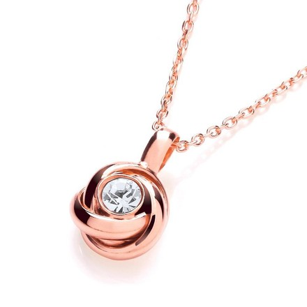 "Rose Knot with Cz in the Centre Necklace 17""/43cm"