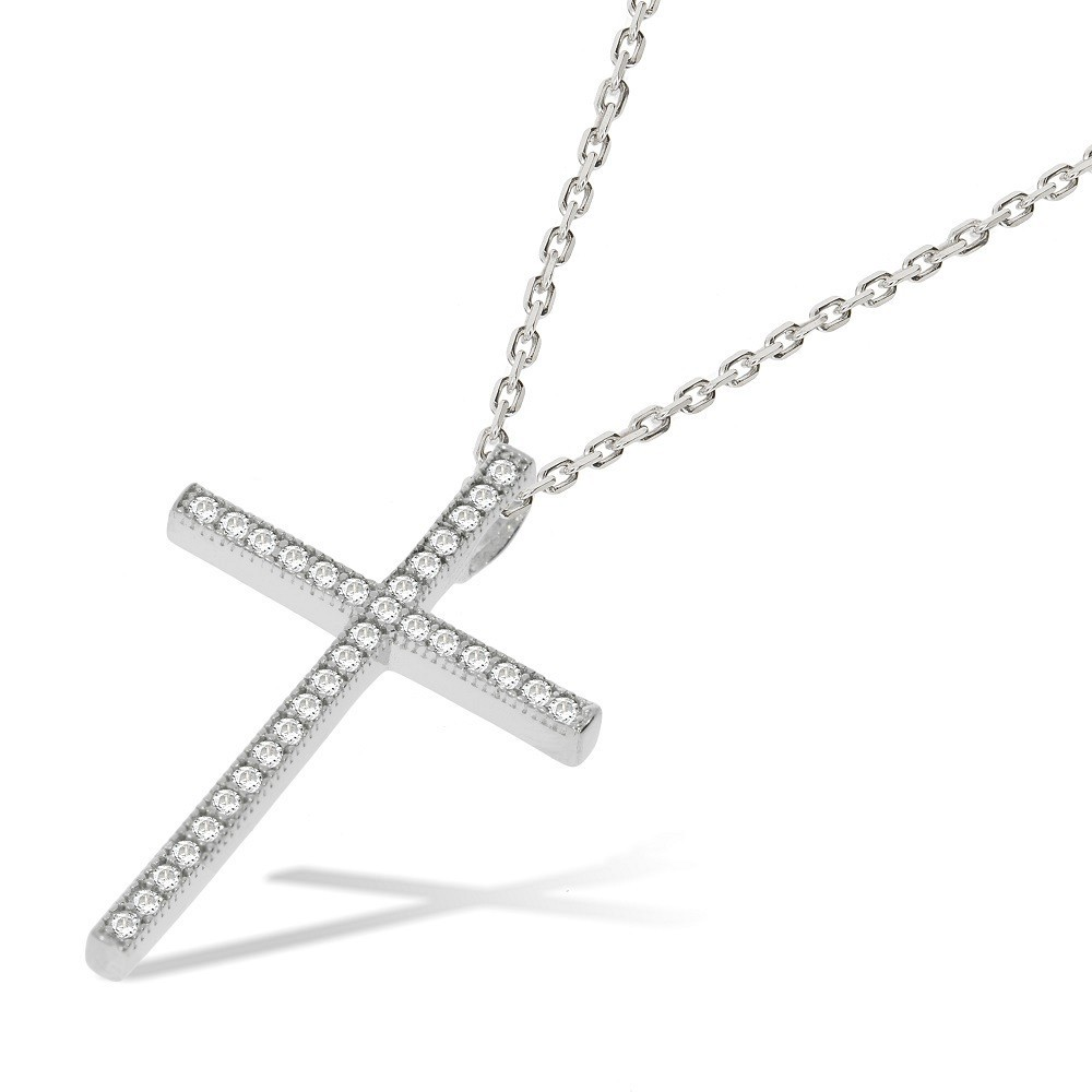 Micro Pave CZ Cross with Chain