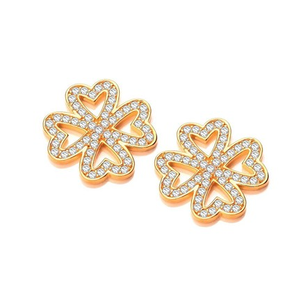 Selling: Four Leaf Clover Yellow Gold Coated Silver Earrings