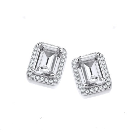 Selling: Micro Pave Emerald Cut Cz Silver Stud Earrings