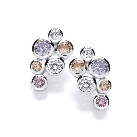 Selling: Multi Colour Rubover set CZs Earrings