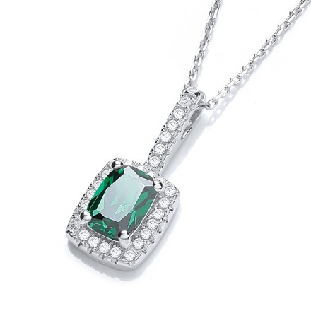"""Selling: Micro Pave' Fancy Pendant Green Small Cz with 18"""" Chain"""