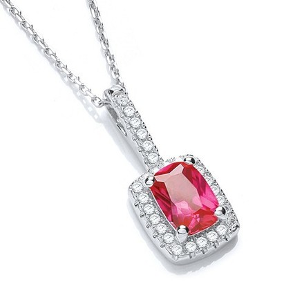 """Selling: Micro Pave' Fancy Pendant Red Small Cz with 18"""" Chain"""