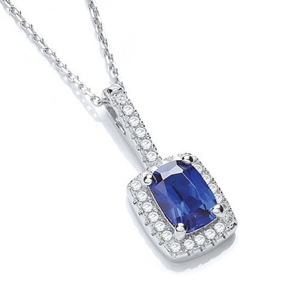 """Selling: Micro Pave' Fancy Pendant Blue Small Cz with 18"""" Chain"""
