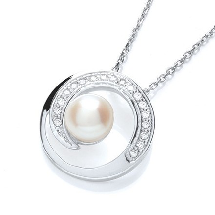 Selling: Micro Pave' Cz Pendant with Synthetic Pearl on Chain