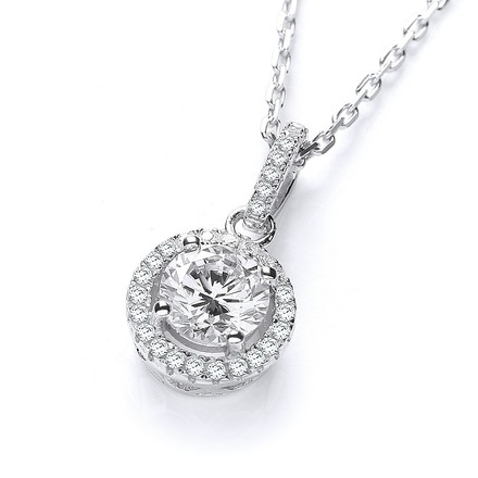 """Selling: Micro Pave' Halo Style Cz Pendant with 18"""" Chain"""