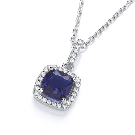 """Selling: Micro Pave' Blue & Clear Cz Drop Pendant with 18"""" Chain"""