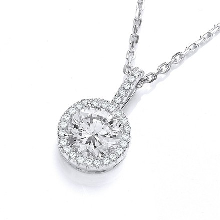 """Selling: Micro Pave' Round Cz Pendant with 18"""" Chain"""