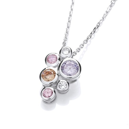 Selling: Multi Colour Rubover set CZs Pendant with Chain
