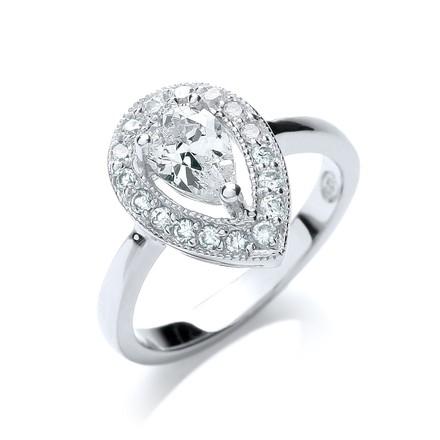 Selling: Fancy Pear Shape Halo Style Cz Ring