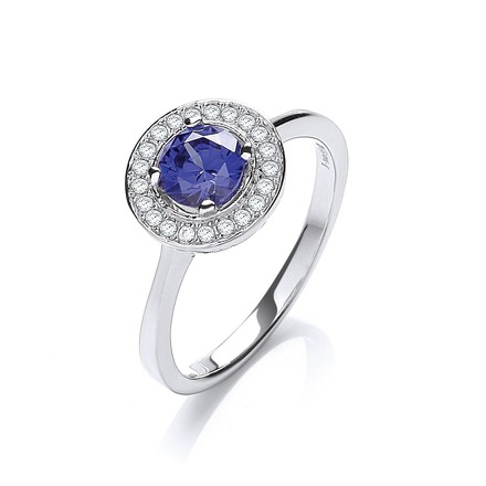 Selling: Micro Pave' Round Blue Cz in Centre Ring