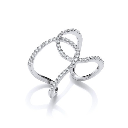Selling: Micro Pave Cz Two Row Interlocking Cuff Silver Ring
