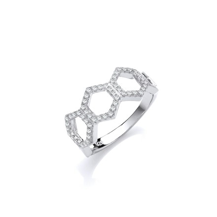 Selling: Honeycomb Style Micro Pave Cz Silver Ring