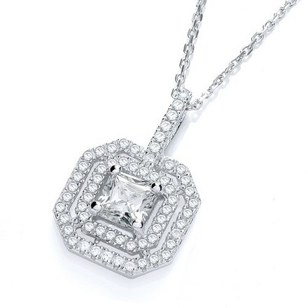 """Selling: Micro Pave' Fancy Pendant Cz Centre with 18"""" Chain"""