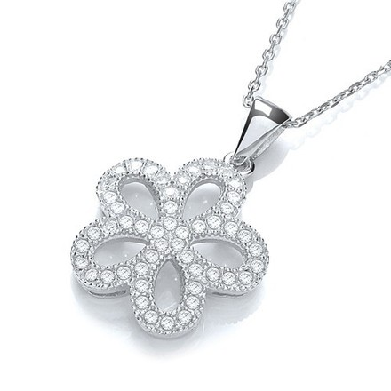 """Selling: Daisy Shape Cluster Cz Pendant with 18"""" Chain"""