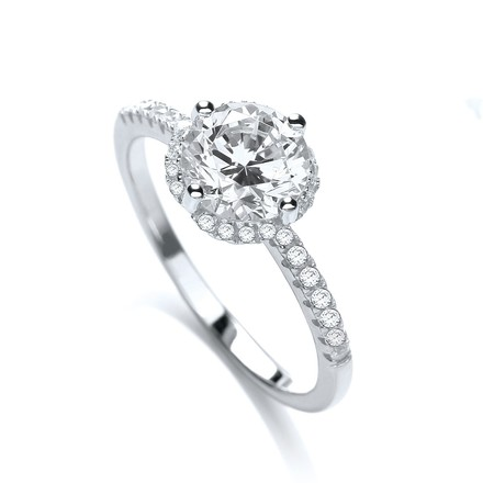 Selling: Micro Pave' S/S Ring with 31 Cz on Shoulder