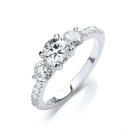 Selling: Micro Pave' Trilogy Ring & Cz on Shoulder