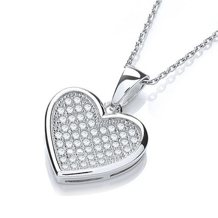 """Selling: Micro Pave' Heart Pendant with 18"""" Chain"""