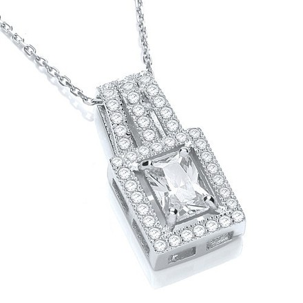 """Selling: Square Shape Cluster Cz Pendant with 18"""" Chain"""