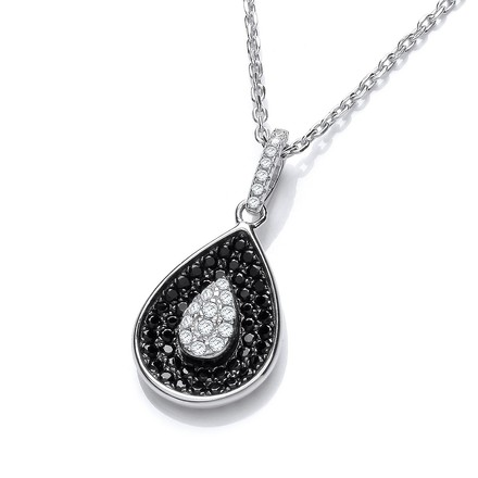 """Selling: Micro Pave' Black & Clear Cz Teardrop Pendant with 18"""" Chain"""