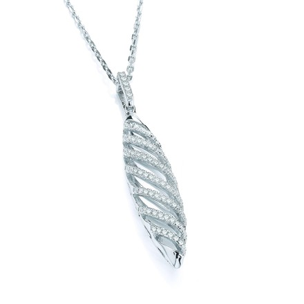"""Selling: Micro Pave' Fancy Swirl Cz Drop Pendant with 18"""" Chain"""