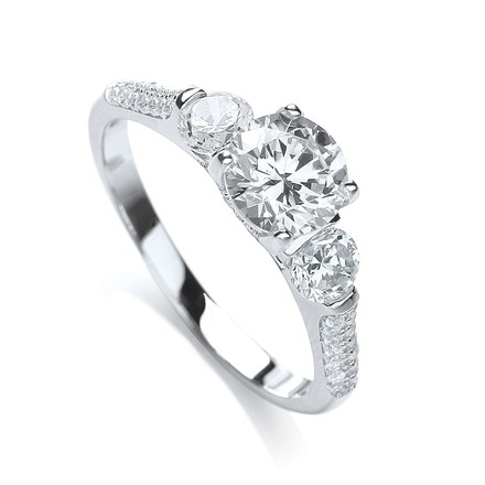 Selling: Micro Pave' High Setting Trilogy Ring & Cz on Shoulder