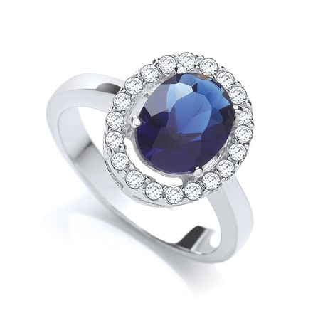 Selling: Blue Oval Cz Cluster Ring