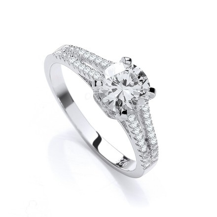 Micro Pave' Split Shank Solitaire Cz Ring
