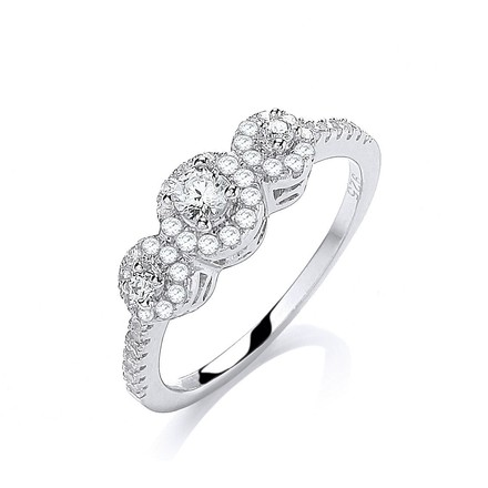 Selling: Micro Pave' Trilogy Round Brilliant Cz 's Ring